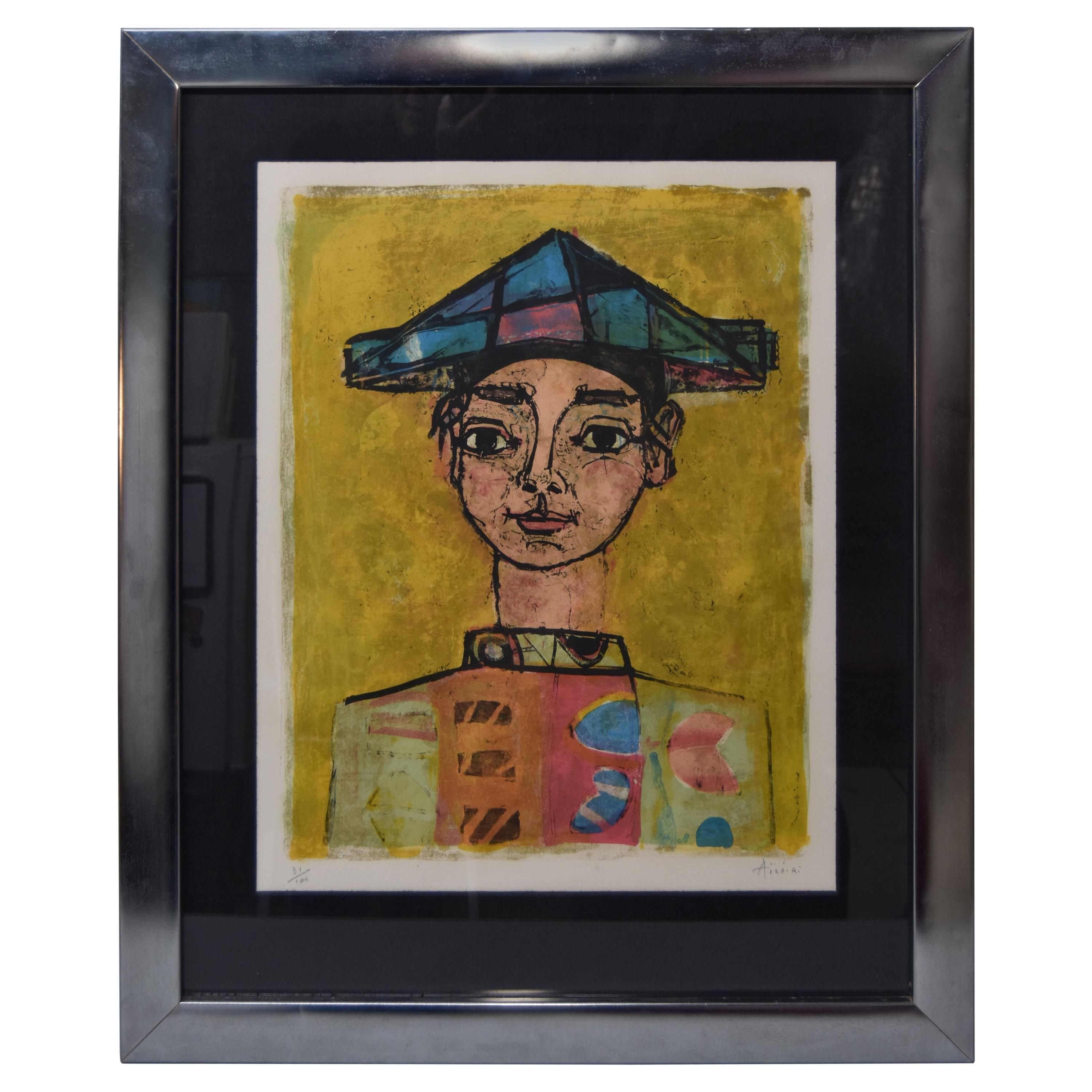 Paul Aizpiri Lithograph Young Harlequin Portrait, Limited Ed Signed and Numbered