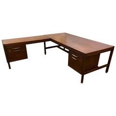 Signed Jens Risom Mid-Century Modern Large Walnut Executive Desk