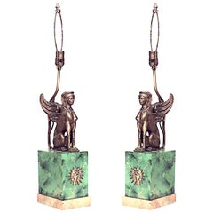 Pair of French Empire Style Sphinx Table Lamps