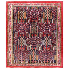 Weeping Willow Tree Design Antique Persian Malayer Rug