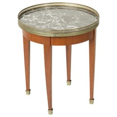 Mid-20th Century French Louis XVI Cherrywood Side Table with Marble Top, Brass