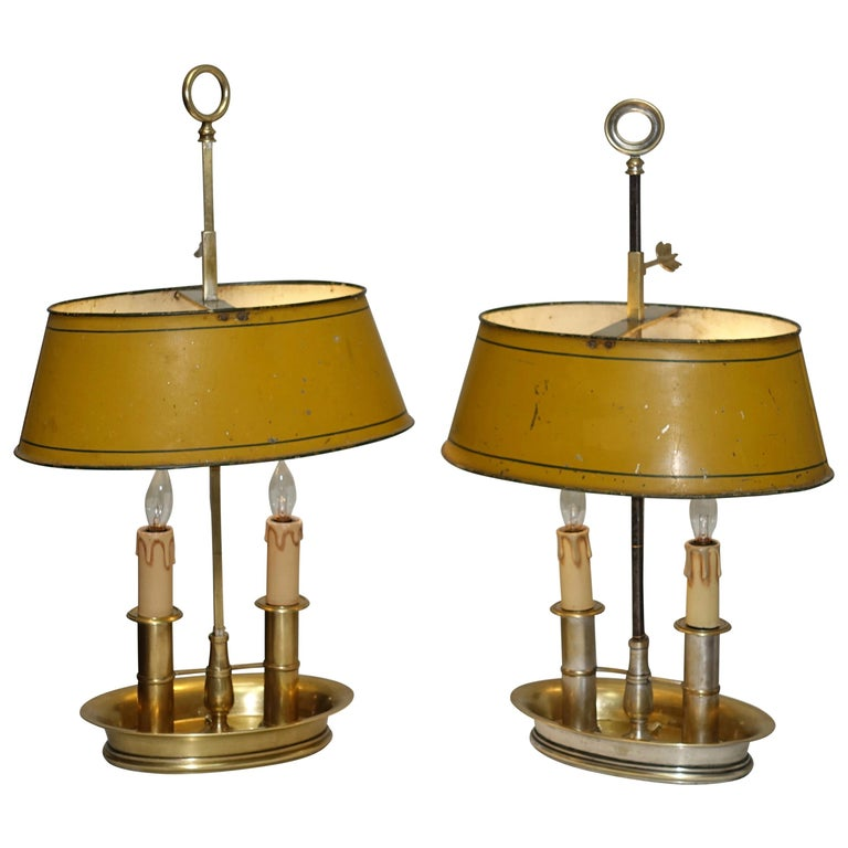 Pair of Brass Bouilotte Lamps with Yellow Tole Shades, French Early 19th Century For Sale