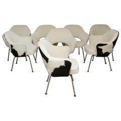 Set of 8 Knoll Executive Chairs in Cowhide