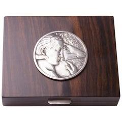 Art Deco Macassar Box with Silver Bronze Medallion Signed M. Delannay