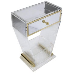 Lucite and Brass Entry Console Table With Mirrored Drawer, 1970s, France