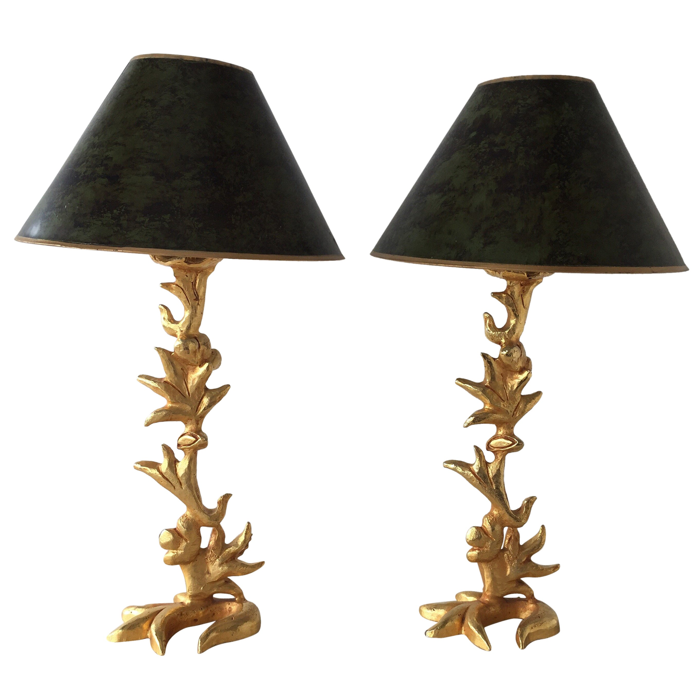 Pair of Rare Fondica by Mathias, Heavy Gilded Bronze Table Lamps