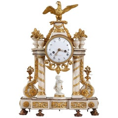 Late 18th Century Louis XVI Marble and Gilt Bronze Portico Clock