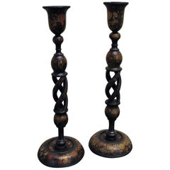 Pair of Antique Kashmiri Candlesticks or Lamps