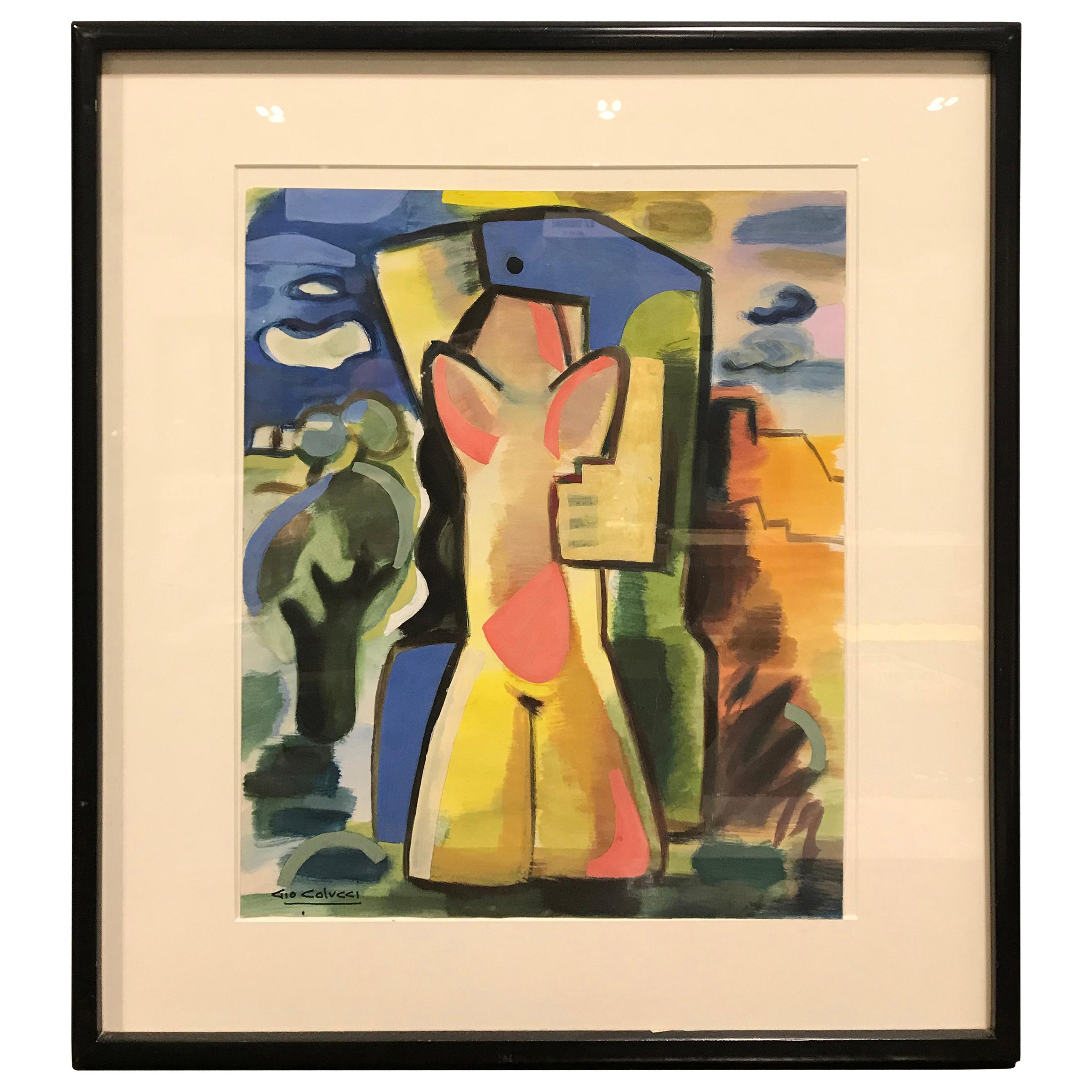 """Colorful Abstract Gouache """"Lovers in Landscape"""" by Gio Colucci"""