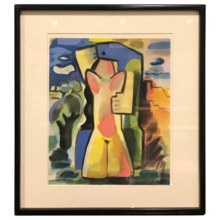 """Colorful Abstract Gouache """"Lovers in Landscape"""" by Gio Colucci For Sale"""