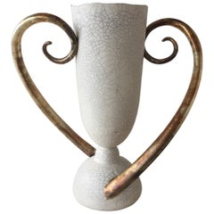Eggshell Crackled Ceramic Trophy Vase