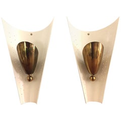 Pair of Stilnovo Brass Sconces