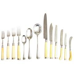 Assembled Art Deco Period Bone and Sterling Silver Flatware by Fletcher & Viner