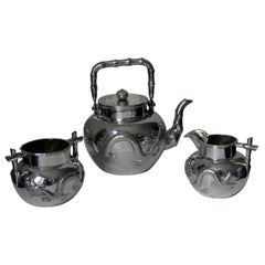 Chinese Export 19th Century Antique Sterling Silver 3-Piece Tea Set