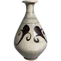 Antique Korean Pear Shaped Bottle Vase with Underglaze Iron Brown Decoration