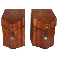 Superb Pair of English Inlaid Satinwood Cutlery Boxes