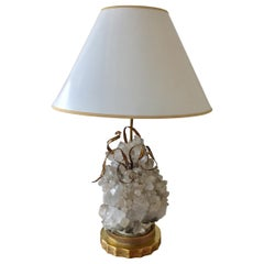 Quartz and Brass Plant Arrangement Table Lamp