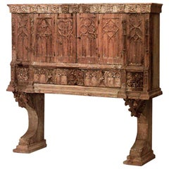 English Gothic Revival Stripped Oak Court Cabinet