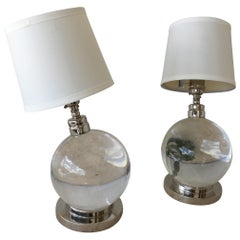 Jacques Adnet and Baccarat Crystal Ball Table Lamps