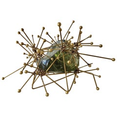 Atomic Explosion Brass and Raw Glass Block Sculpture