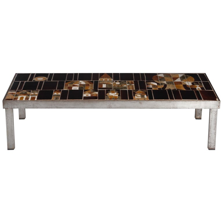 French 1960s Metal Base and Ceramic Top Coffee Table by Roger Capron For Sale
