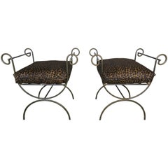 Pair of Wrought Iron Benches with Leopard Style Cushions