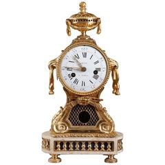 18th Century Transition Gilt Bronze and Marble Pendulum Clock