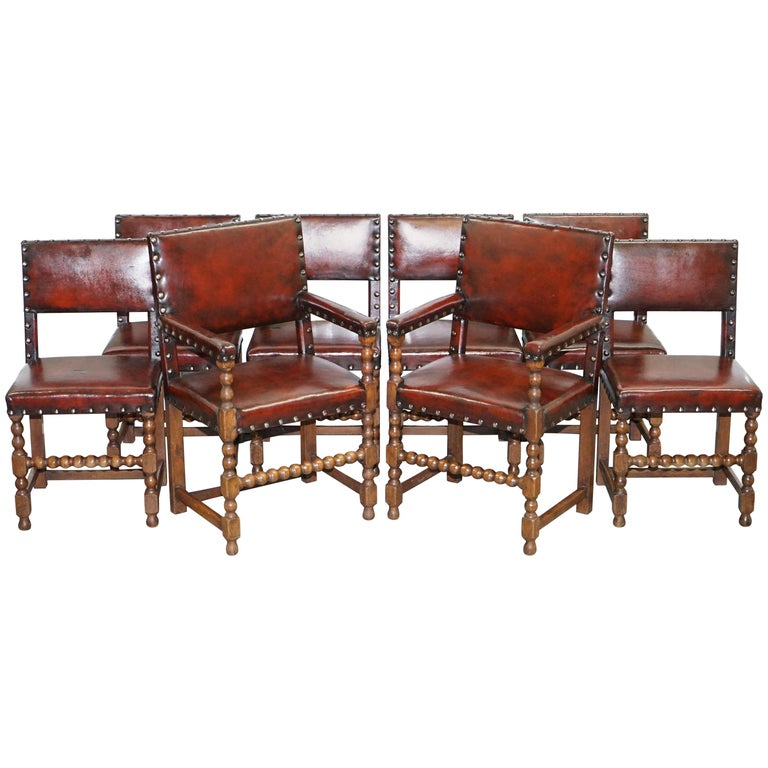 8 Solid Oak Bobbin Restored Hand Dyed Brown Leather Dining Chairs, circa 1900 For Sale
