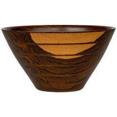 Peter Petrochko Carved Padauk and Ziricote Wood Bowl