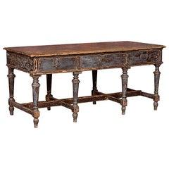 Antiker Arbeitstisch oder Kücheninsel aus Schweden mit Original Lack