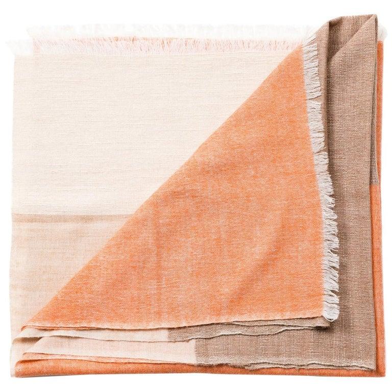 Handloom CHESTNUT Color Block Throw / Blanket In Merino  For Sale