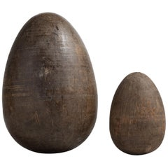 Set of Two Wooden Egg Moulds, England, circa 1890