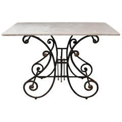 French 19th Century Wrought-Iron and Marble-Top Pastry Table
