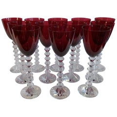 French Service Set of 12 Baccarat VÉGA Wine Ruby Red Rhine Glass Crystal