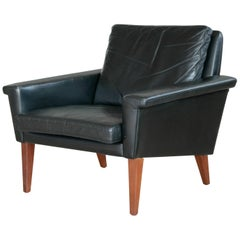 Danish Modern Easy Chair in Leather Attributed to Folke Jansson