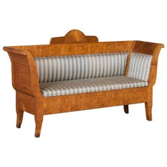 Antique 19th Century Swedish Birch Sofa Bench