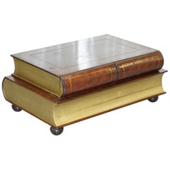 Leather Theodore Alexander Faux Scholars Books Large Coffee Table with Drawers