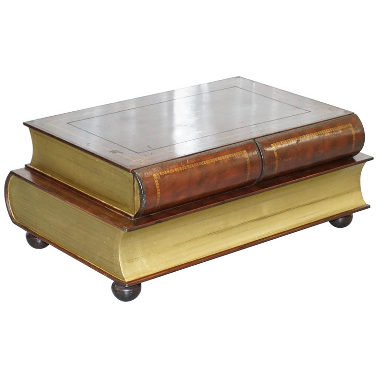 Leather Theodore Alexander Faux Scholars Books Large Coffee Table with Drawers For Sale