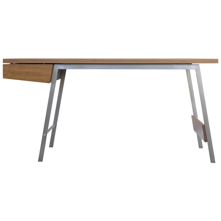 AD7, Handmade Solid Walnut and Cold Rolled Steel with Pencil Drawer For Sale