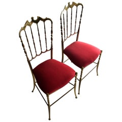 Brass and Red Velvet Midcentury Chiavari Chairs