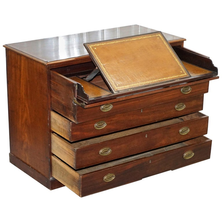 Robert Gillows II 1790 Writing Library Mahogany Chest of Drawers Leather Slope For Sale