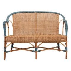 Vintage Französisches Gewebtes Rattan Sofa