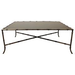 Maison Baguès Style Faux Bamboo Iron Glass Top Coffee Table