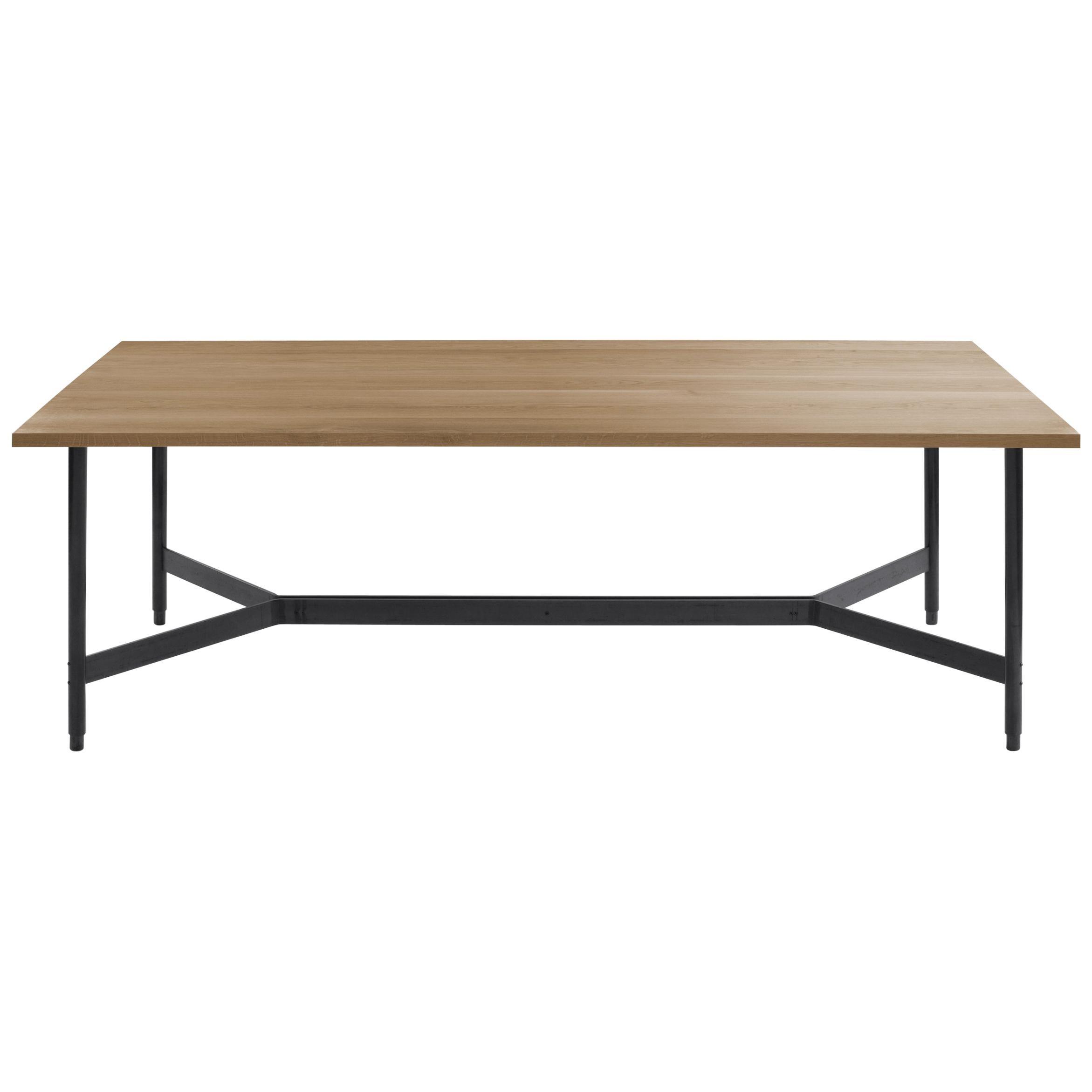 AT11, Handmade Solid White Oak & Blackened Steel Dining Table, Work Table, Desk