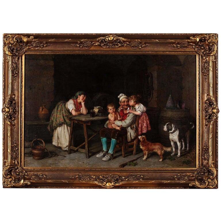 """Federico Mazzotta 19th Century Oil on Canvas """"Grandfather"""" For Sale"""