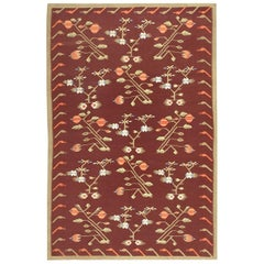 Vintage Flat-Woven Bessarabian Kilim Rug. Size: 5 ft 8 in x 8 ft 6 in