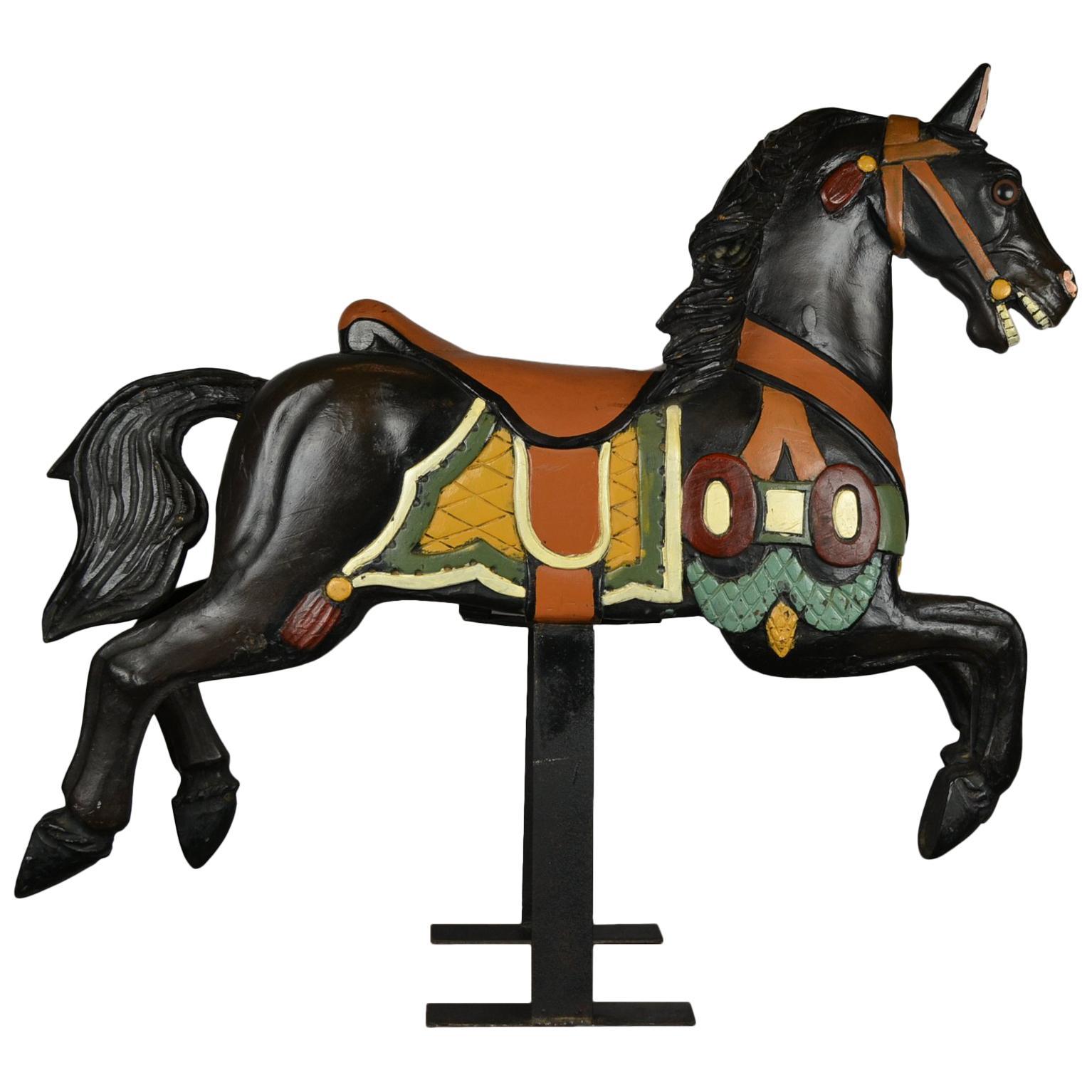 Black Carousel Horse, Wood Horse Sculpture on Metal Base, 1960s