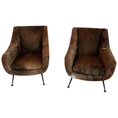 Pair of Italian Mid-Century Modern Club Chairs Covered in Cowhide