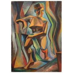 Cubist Oil Painting by Mary Ann Meyer, America, 20th Century