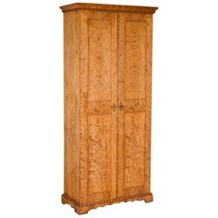 Tall Antique 19th Century Birch Two-Door Cabinet from Sweden